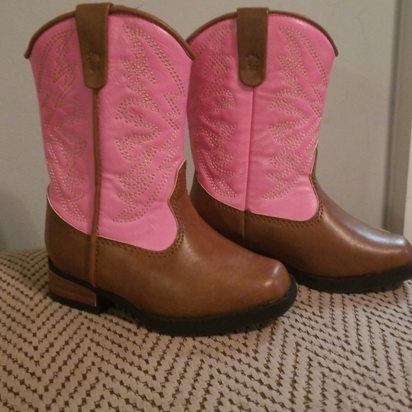 0d75fc71f4c Pink and brown toddler cowgirl boots